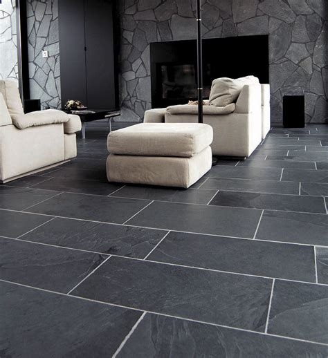 slate living room floor i this room with the large slate subway tiles dramatic touch in a simple living