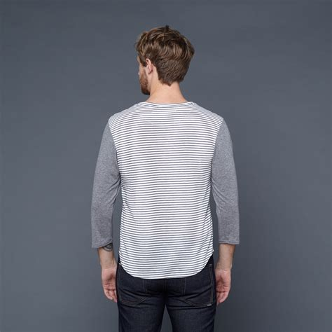 Sleeve Block Stripe White stripe color block 3 4 sleeve white grey chambray s craft commerce touch of modern