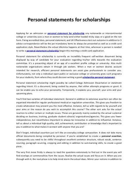 Personal Statement For Mba Scholarship by Personal Statements For Scholarships 22
