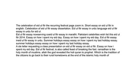 The Day I In My Thesis by Essay On How I Spend Eid Day Docs