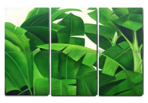 hand painted  shipping tropical plants shrubs banana leaves home wall decoration art