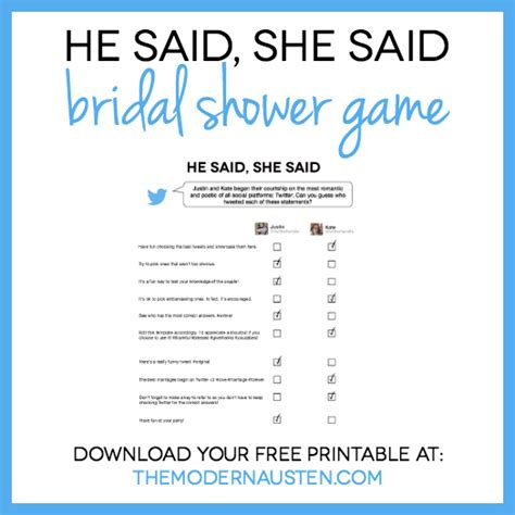 he said she said bridal shower template he said she said bridal shower printable the