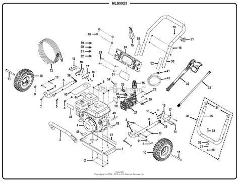 pressure washer parts diagram homelite hl80923 3100 psi pressure washer parts diagram