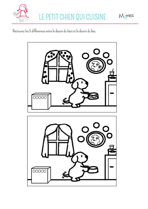 les jeux de la cuisine de jeu des 5 erreurs le petit chien qui cuisine momes