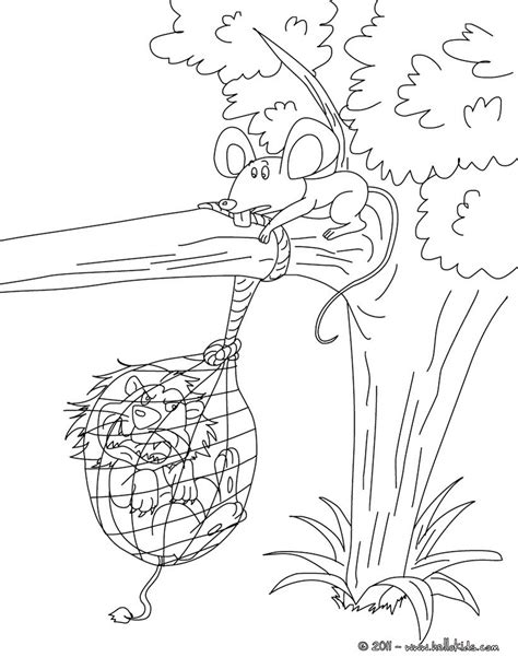 coloring pages the lion and the mouse the lion and the mouse coloring pages hellokids com