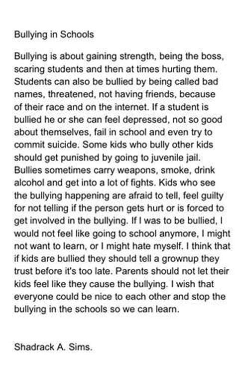 Bullying Persuasive Essay by Essay On Bullying At School Essay On Bullying At School