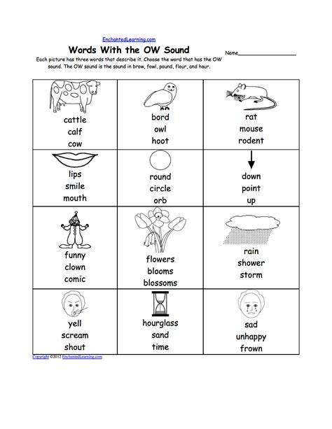 Ow Worksheets by Image Gallery Ow Words