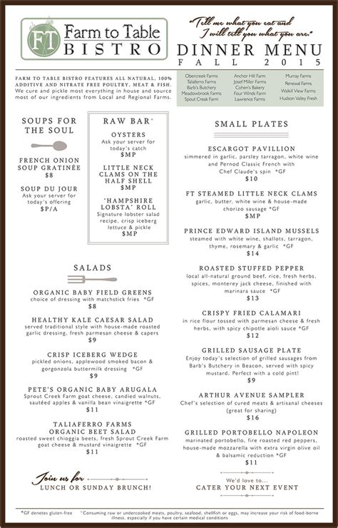 Table Menu by Dinner Menu Farm To Table Bistro