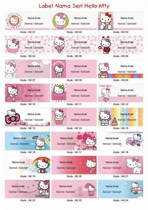 Stiker Label Nama Mix Karakter Paket B Stationery Sekolah jual dvd template sticker label nama anak sprint shop