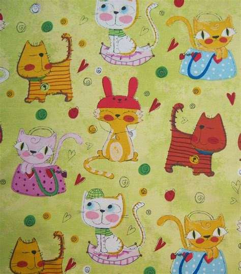 Novelty Quilting Fabric by Novelty Quilt Fabric Cats Wearin Hats Light Green Jo