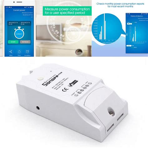 Sonoff Pow Remote Power Monitor Wifi Wireless Switch Smart Home Iot itead sonoff pow wireless wifi switch on 16a power monitor electricity meter kwh voltage