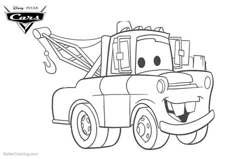 coloring pages of coloring pages of cars pixar tow mater free printable