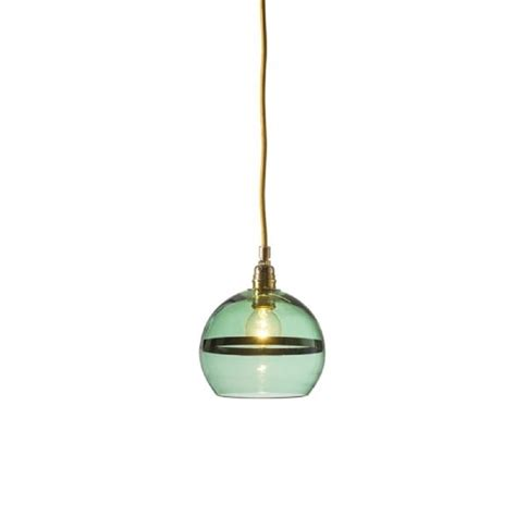 Green Glass Pendant Lights Mouthblown Green Glass Globe Pendant With Metallic Green Stripe