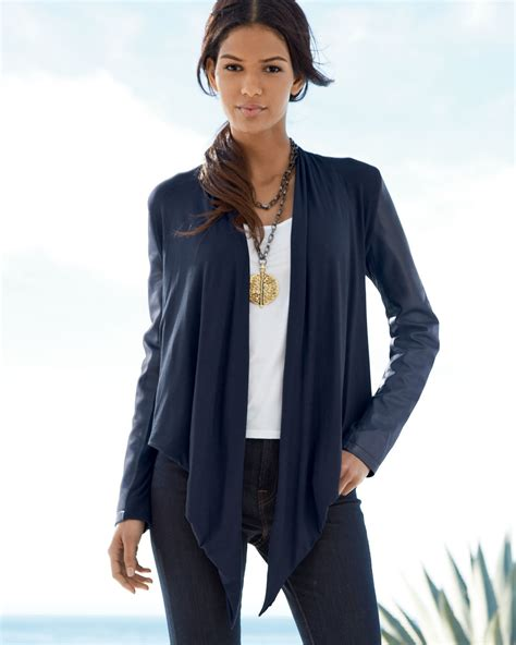 Fashion Find Front Drape Jacket by Bagatelle Waterfall Drape Front Leather Jacket In Blue Lyst