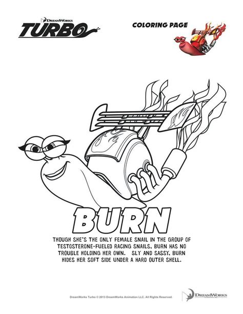 turbo burn coloring page turbo that snail is fast