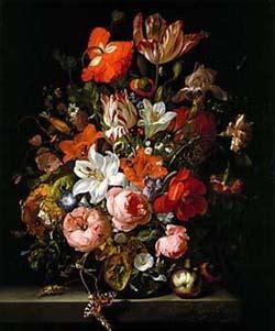 Vase Of Flowers Jan Davidsz De Heem Rose Art From Famous Paintings Of Old Rosefarm Com
