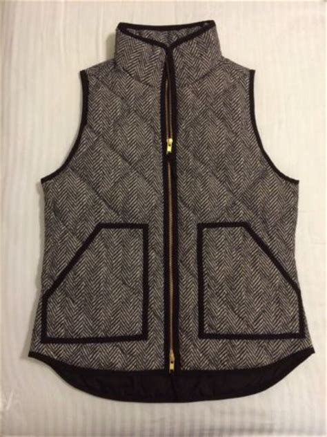 Excursion Quilted Vest In Herringbone by J Crew Herringbone Quilted Excursion Puffer Vest Xs Ebay
