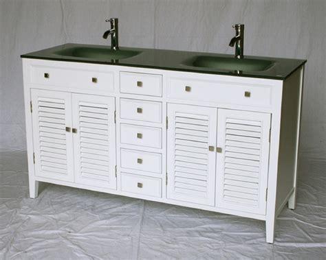 60 Inch Bathroom Vanity Cottage Style White Cabinet Glass Top Cottage Style Bathroom Vanities Cabinets