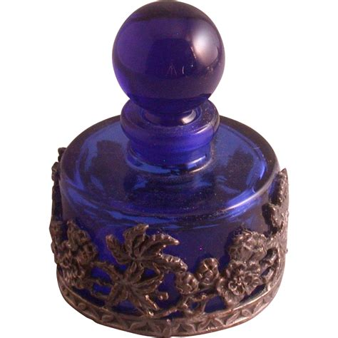 cobalt blue glass l cobalt blue glass perfume bottle w floral pewter overlay