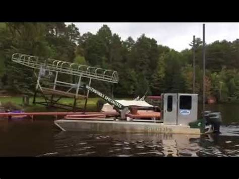 boat lift barge dock and lift barge youtube