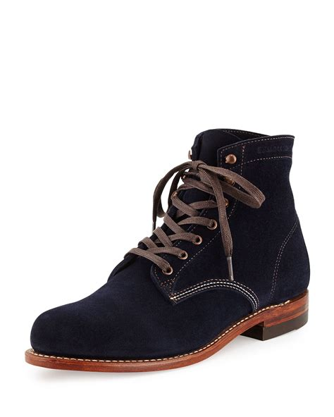 1000 mile boots wolverine 1000 mile suede boot in blue for navy lyst