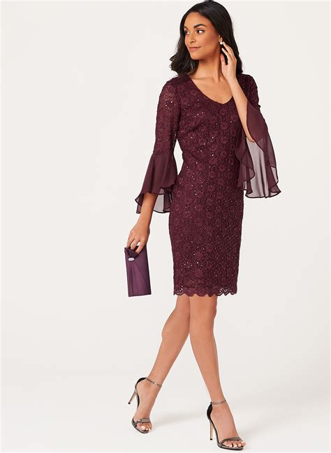 Bell Sleeve Lace Dress bell sleeve sequin lace dress