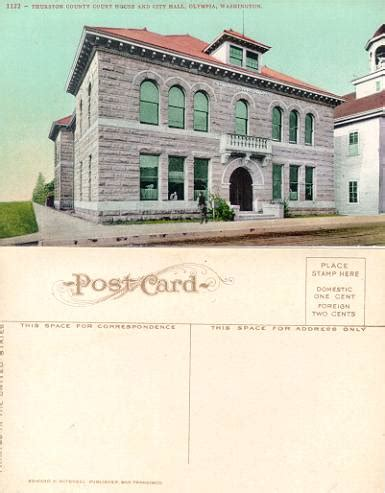 Thurston County Court Search Postcard From The Thurston County Court House And City Olympia Washington