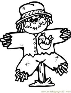 Simple Squishy Black Paw fall scarecrow and pumpkins coloring page coloring book