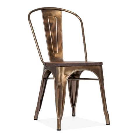 bronze metal chairs bronze side chair with elm wood seat cult furniture