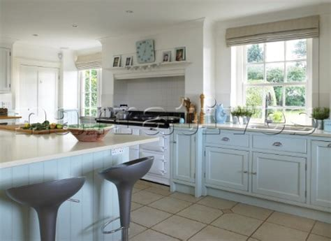 dp018 31 light blue kitchen with recessed range oven