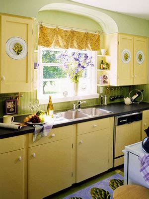 yellow vintage kitchen painted and stenciled kitchen cabinets hooked on houses