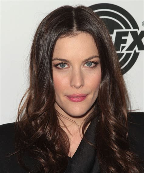 liv tyler hairstyles for narrow face shapes liv tyler long wavy formal hairstyle dark brunette mocha