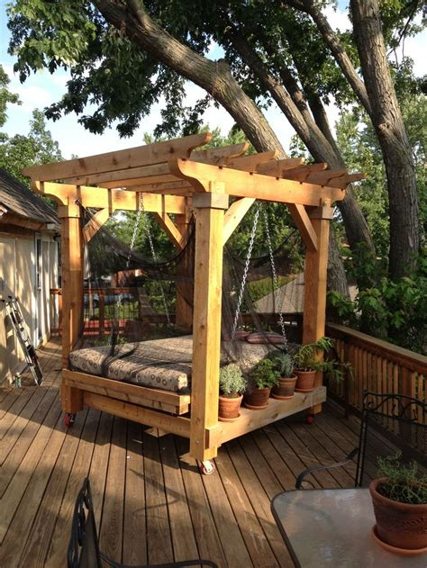 swinging bed outdoor swinging bed yard and garden pinterest