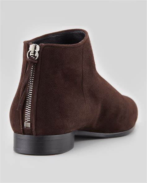 miu miu suede point toe flat ankle boot brown cishoes