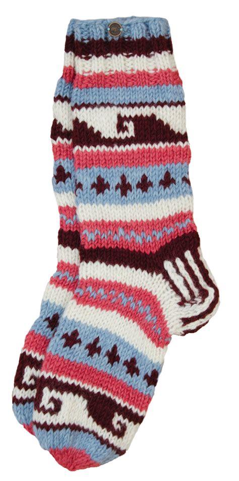 Wiggle Wiggle Patterned Socks wool knit socks blue berry smoke pattern