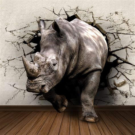 Wholesale Home Decor Canada by Wholesale Rhinoceros Animal Mural 3d Wall Photo Murals