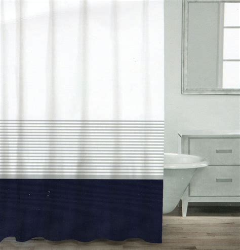 white and navy shower curtain caro home cotton shower curtain wide stripe navy blue