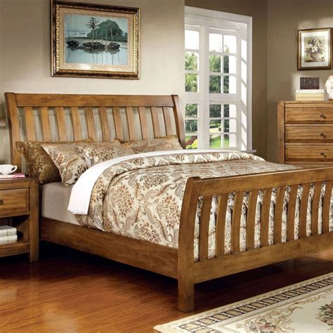 country bed conrad country style rustic oak finish bed frame set ebay