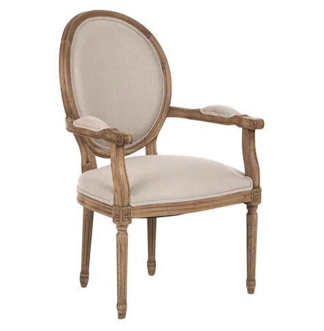 Madeleine french country louis xvi linen oval dining arm chair kathy kuo home