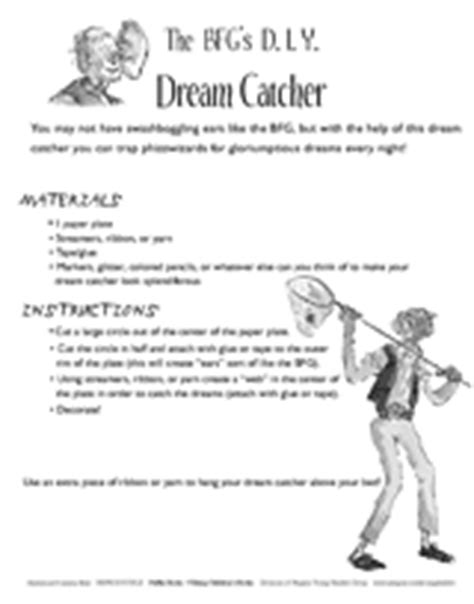 The BFG's D.I.Y. Dream Catcher Printable (2nd - 5th Grade