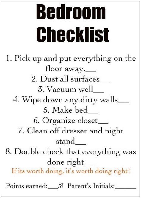 cleaning bedroom checklist chores cleaning checklist for each room for kids for
