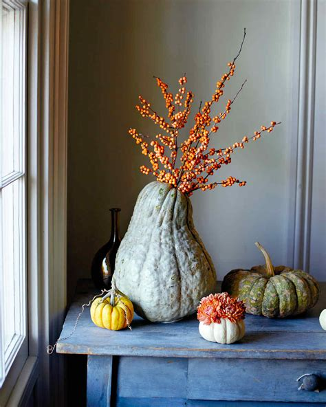 martha stewart fall decorating how to make squash and pumpkin flower arrangements