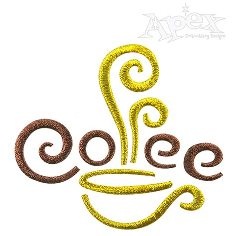 coffee cup design coffee cup embroidery design