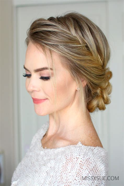 hairstyles updo braids french fishtail braid updo missy sue
