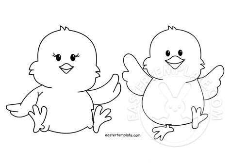 two easter chicks coloring page kids easter template