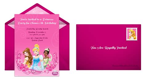 Birthday Card Template And Envelope by Plan The Disney Princess Birthday