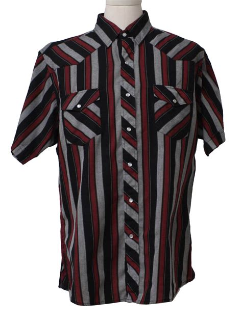Wst 15832 Striped Collar Patch Shirt 90 S Corral West Western Shirt 90s Corral West Mens