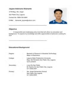 resume format resume format for ojt tourism students