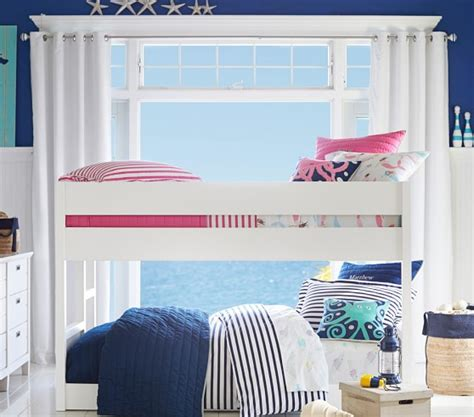 low loft beds for kids camden twin over twin low bunk bed pottery barn kids