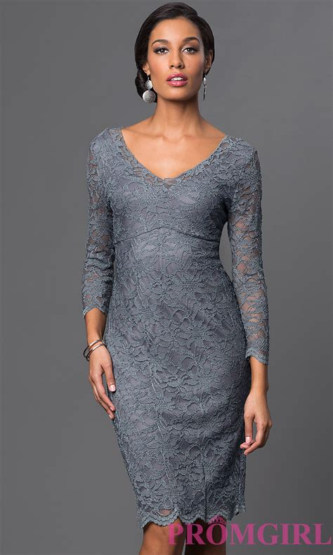 Designer clothes for women : V Neck Knee Length Lace Dress by Marina   new trand   Fashion & Fancy